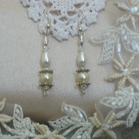 Pearl and Crystal Victoriana Drop Earrings