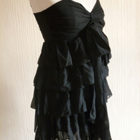 Black Chiffon Ruffle Tie Dress