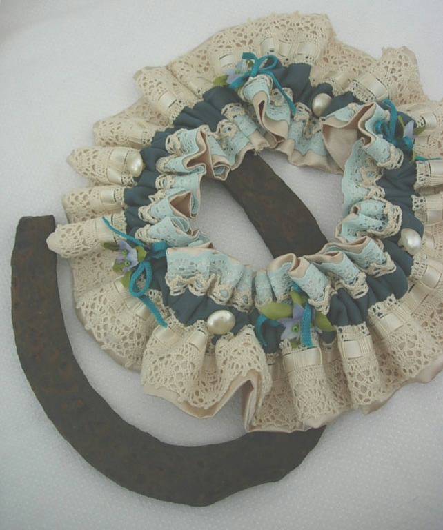 Wedding Garter - Victoriana De Luxe-Teal & Blue Flowers