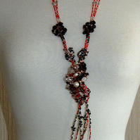 ON SALE 'Love Knot' Statement Necklace- Black Red Silver
