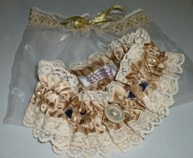 Wedding Garter - Victoriana-Taupe-Old Gold-Royal