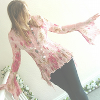 Crinkle Top Pink Floral Long Sleeves UK Size 8-10