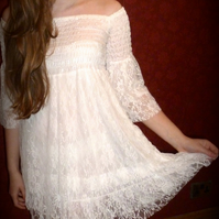 SALE Shirred Lace Dress-Version 2