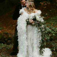 Feather Winter Wedding Cape Chandelle Feathers Full Length with Train