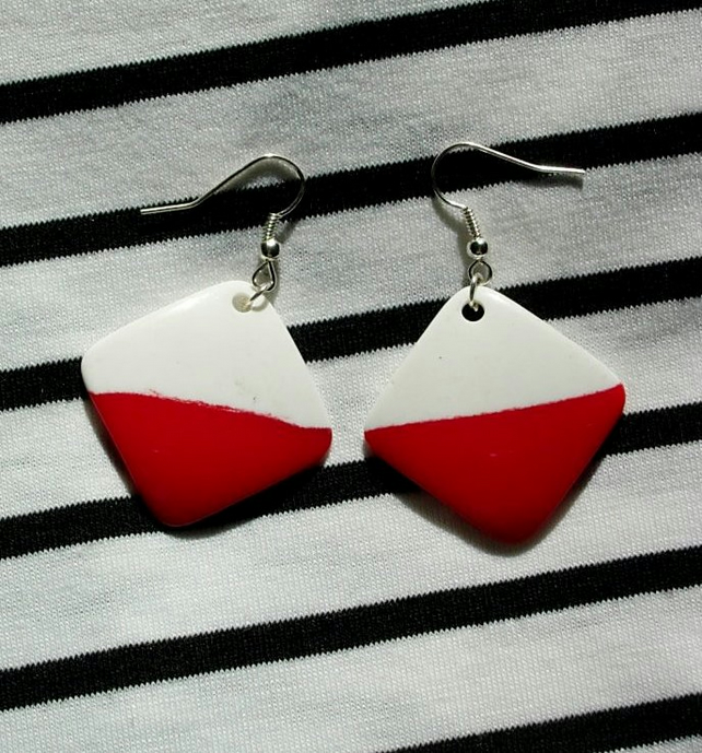 Earrings - 60's Style - Red White Square