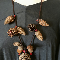Custom Made Long Leather Statement Necklace Fir Cones, Acorns OOAK Unique Quirky