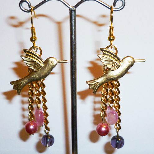 Vintage Golden Hummingbird Earrings