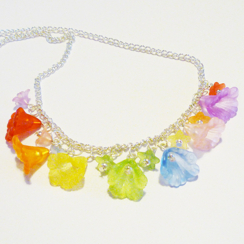 Rainbow Lucite Flower Necklace
