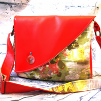 A handmade red, watercolour  crossbody, messenger bag