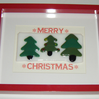 Merry Christmas -  Art Glass Picture