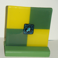 Green and Yellow Geometric Design Fused Glass Art Tile Coaster or Display