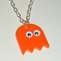 Orange Pacman Ghost Fun necklace with chunky silver plate chain