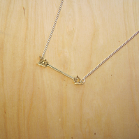 Tiny Golden Arrow Charm Necklace