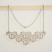 60s Geometric Pattern Wooden Necklace in Birch