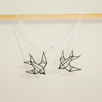 Twin Birds Origami Swallows Geometric Necklace