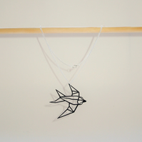 Origami Bird (Swallow) Pendant Necklace