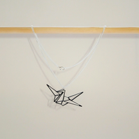 Origami Good Luck Japanese Crane Geometric Necklace