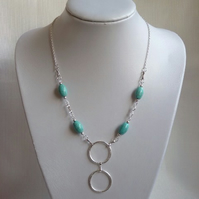 Turquoise & Silver Coloured Necklace with Ring Pendant