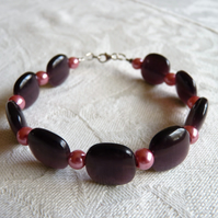 Pink & Purple Glass Bead Bracelet