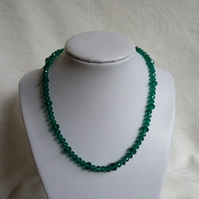 Green Faceted Glass Bead Necklace