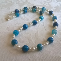 Blue Banded Agate Necklace
