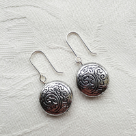 Silver Acrylic Disc Earrings