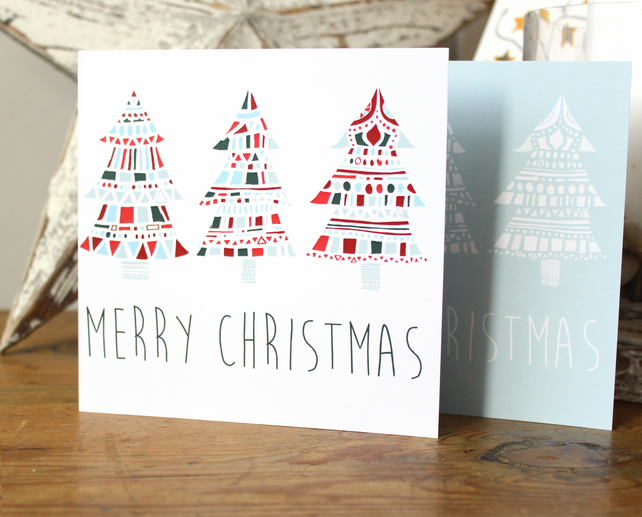 Set of Christmas Cards in 'Abstract Tree' print, blue