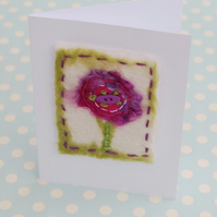 Handmade Felt Flower  Greetings Card