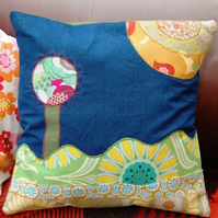 Appliqué cushion  – summer scene