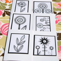 Black and White Flower Cards x 6 pack