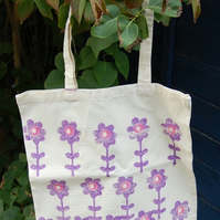 Bag  - Hand printed Pink and Purple flowers
