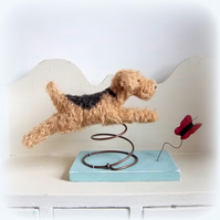 A little leaping mohair dog on an old spring...'Happiness'