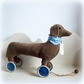 Betsy A velveteen Daschund sausage dog on vintage Meccano wheels