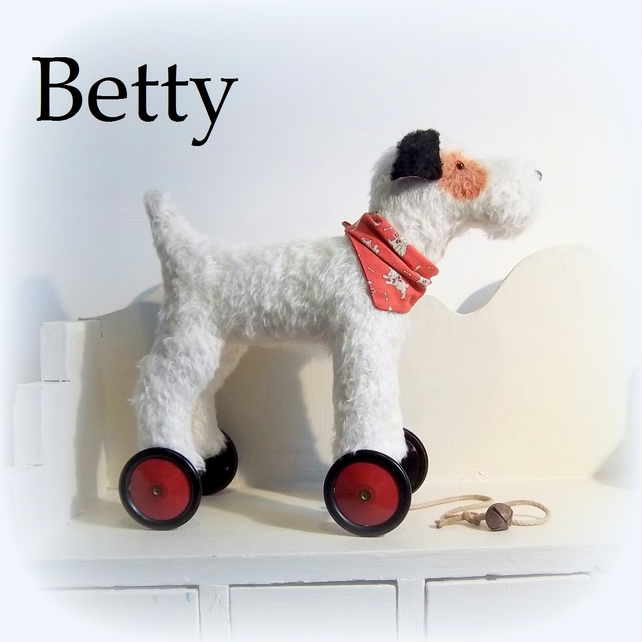 'Betty'  a large Terrier on vintage Meccano wheels