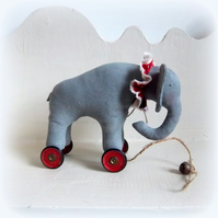 little circus elephant on vintage Meccano wheels