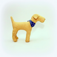 Barnaby a little vintage style fox terrier with spotty neckerchief