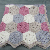 Crochet baby hexagon blanket ( made to order)