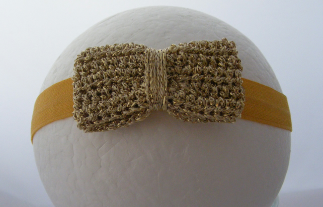 Crochet bow hairband