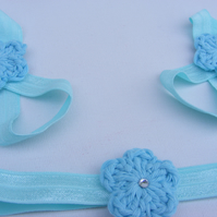 Baby barefoot sandal and hair band set