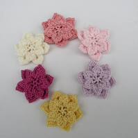 Double crochet flowers x 6