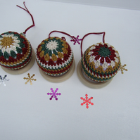 Crochet Christmas bauble x 3
