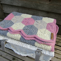 Crochet baby hexagon blanket.