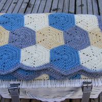 Crochet baby hexagon blanket. Free P&P