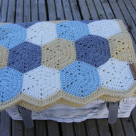 Crochet baby hexagon blanket (ready to ship)