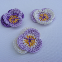 Crochet pansies x 3