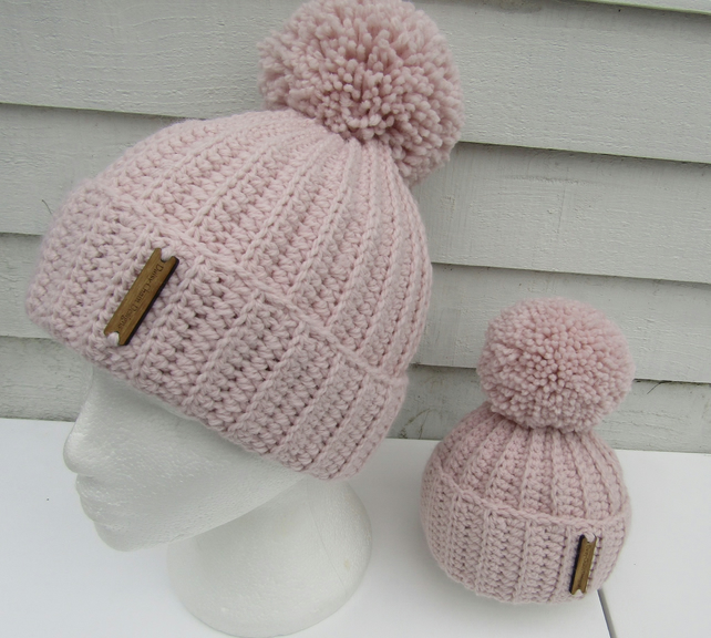 Crochet mummy and me hat set. Free uk postage