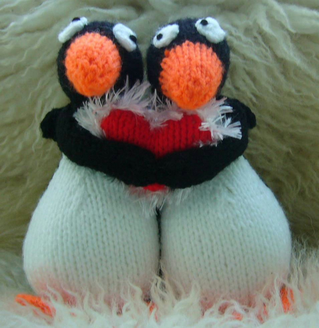 Hand Knitted LOVE Penguins