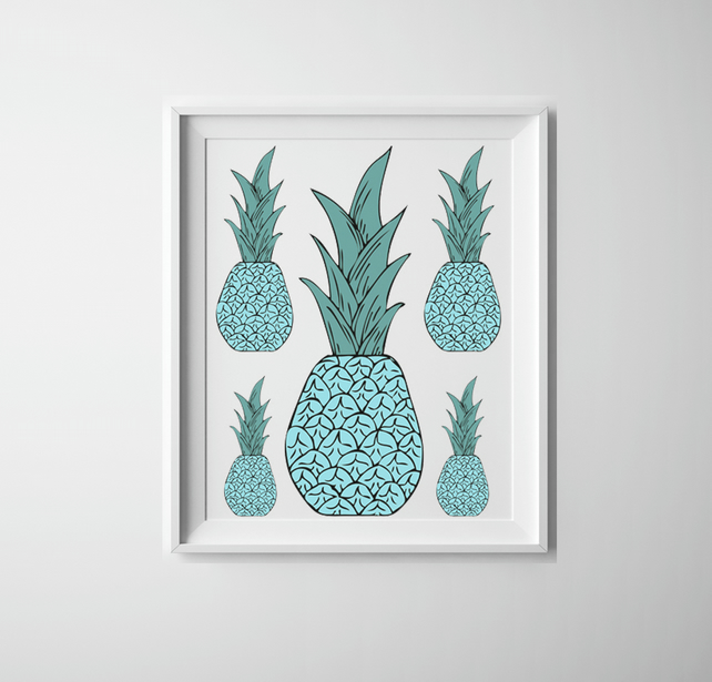 Quirky Kitchen Artwork: Pineapple Print, Teal Pineapples, Quirky Kitche...