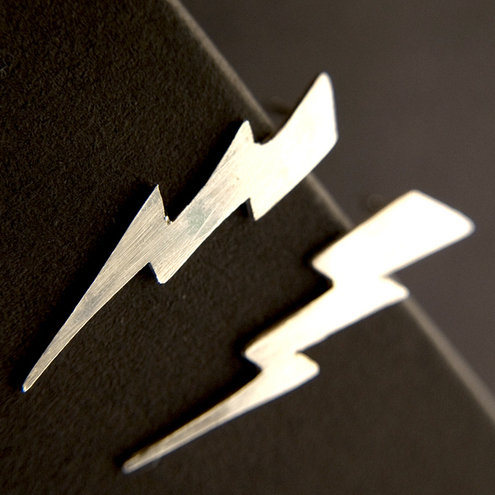 Sterling Silver Lightning Bolt Earrings