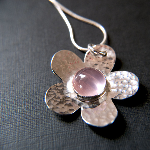 Silver Rose Quartz Flower Pendant